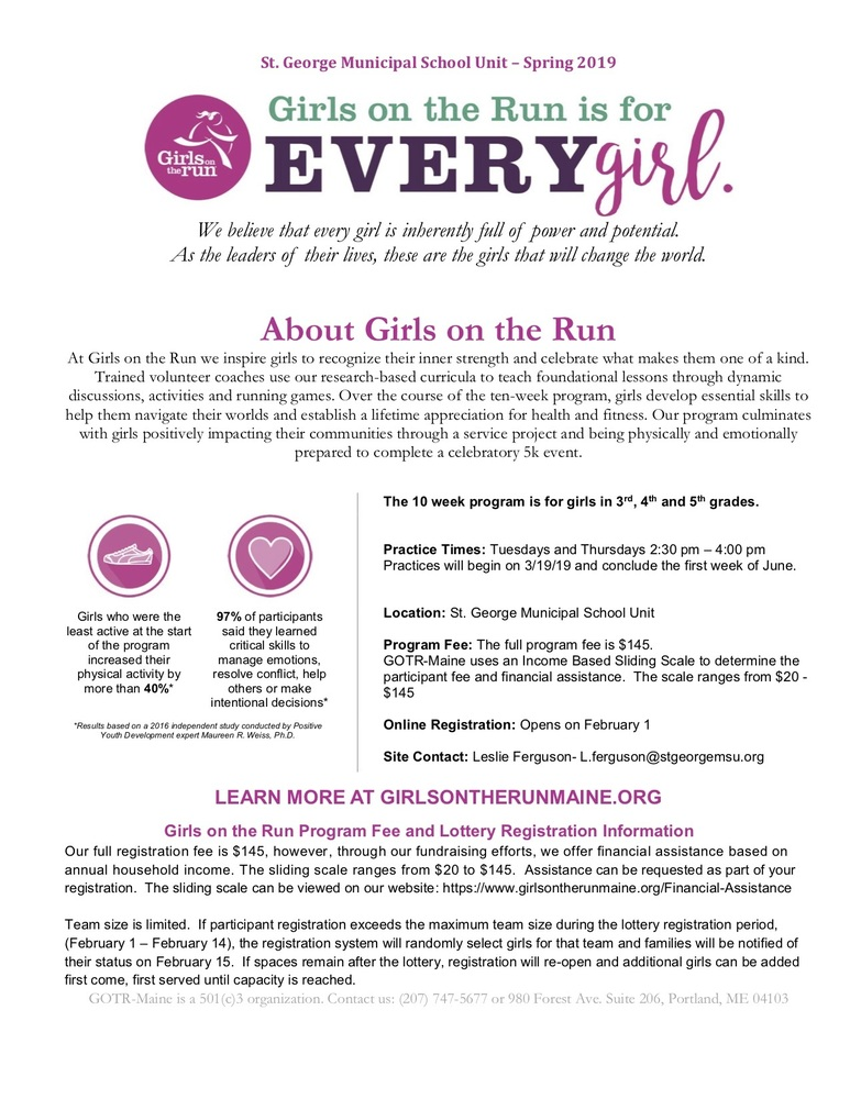 Flyer for Girls On The Run Spring 2019 Session at the St. George School