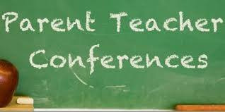 Parent Teacher conferences written on a chalkboard