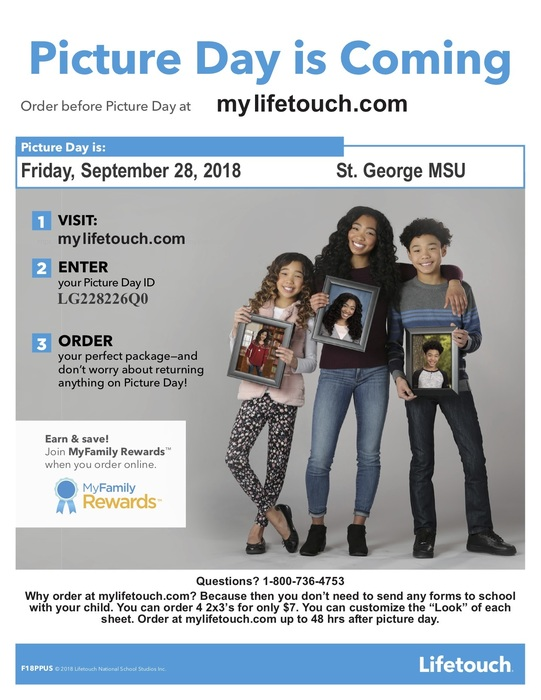 Flyer for school picture day on Friday, September 28, 2018
