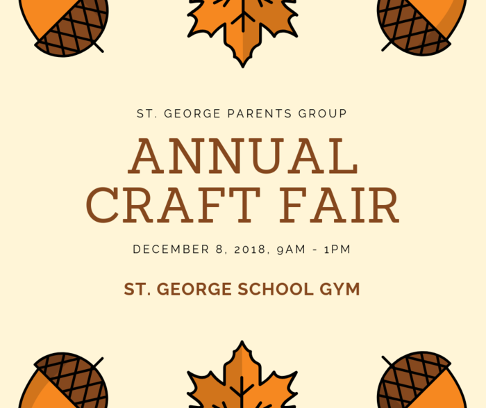 St. George Parents Group Annual Craft Fair Flyer