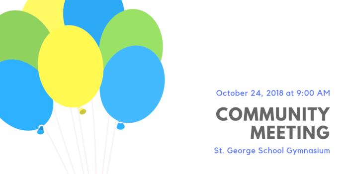 Celebratory balloons for the upcoming community meeting