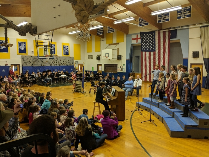 Veterans Day assembly and 5th grade chorus