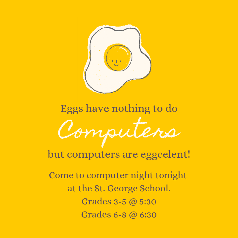 Silly image about computers being eggcelent!