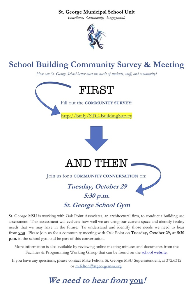 School Building Community Survey and Meeting Flyer