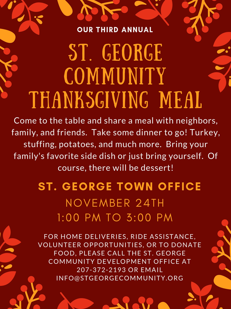 St. George Community Development Corporation's 3rd Annual Thanksgiving Meal at the Town Office