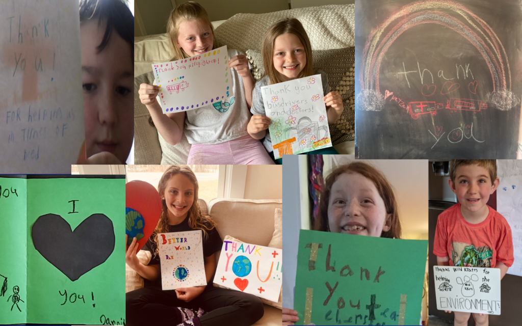 Compilation of thank you cards from St. George School students.