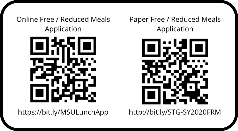 Free and Reduced Meals application QR Codes
